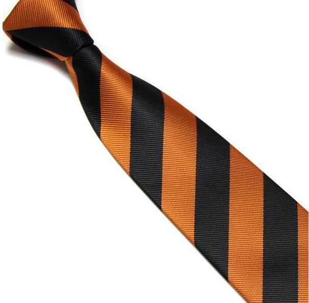 Black and Orange Striped Club Tie