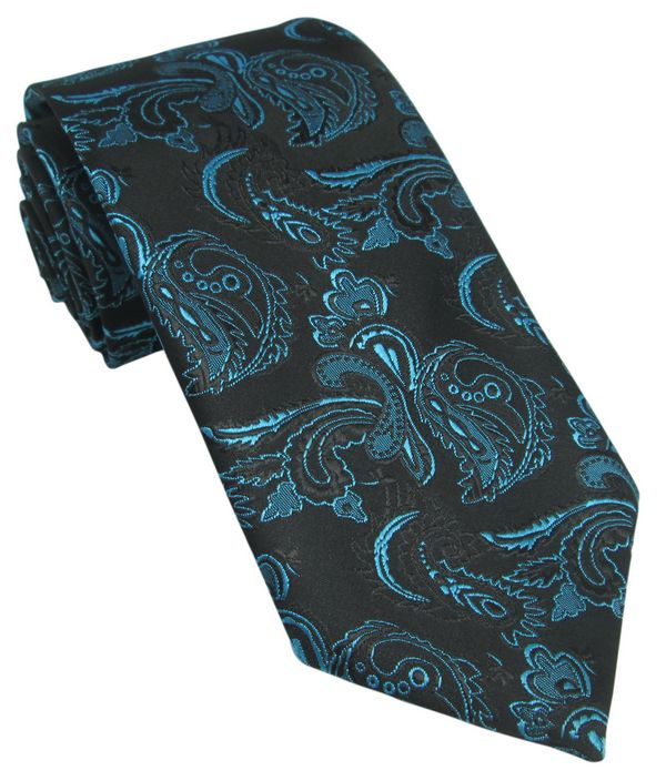 Black Tie with Teal Paisley Design