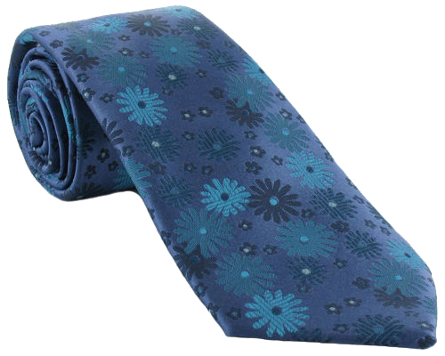Blue Silk Tie with Flowers