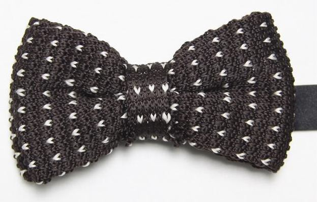 Brown Knitted Bow Tie with White Pattern