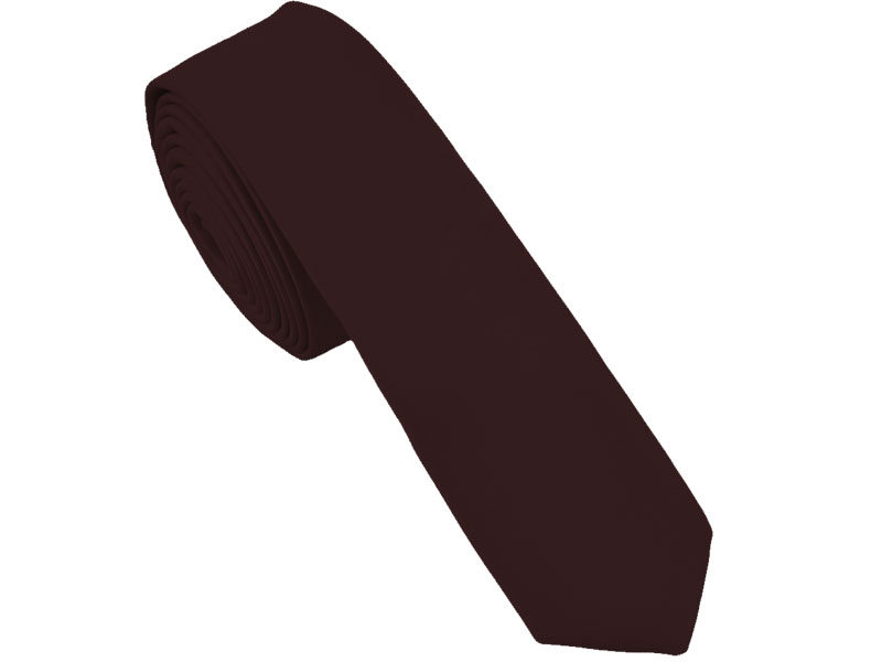 Brown Satin Skinny Tie