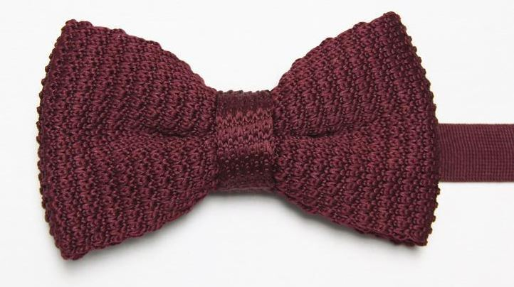 Burgundy Knitted Bow Tie