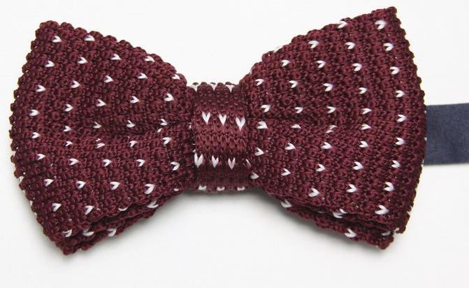 Burgundy Knitted Bow Tie with White Pattern
