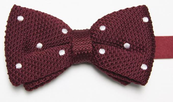 Burgundy Knitted Bow Tie with White Spots