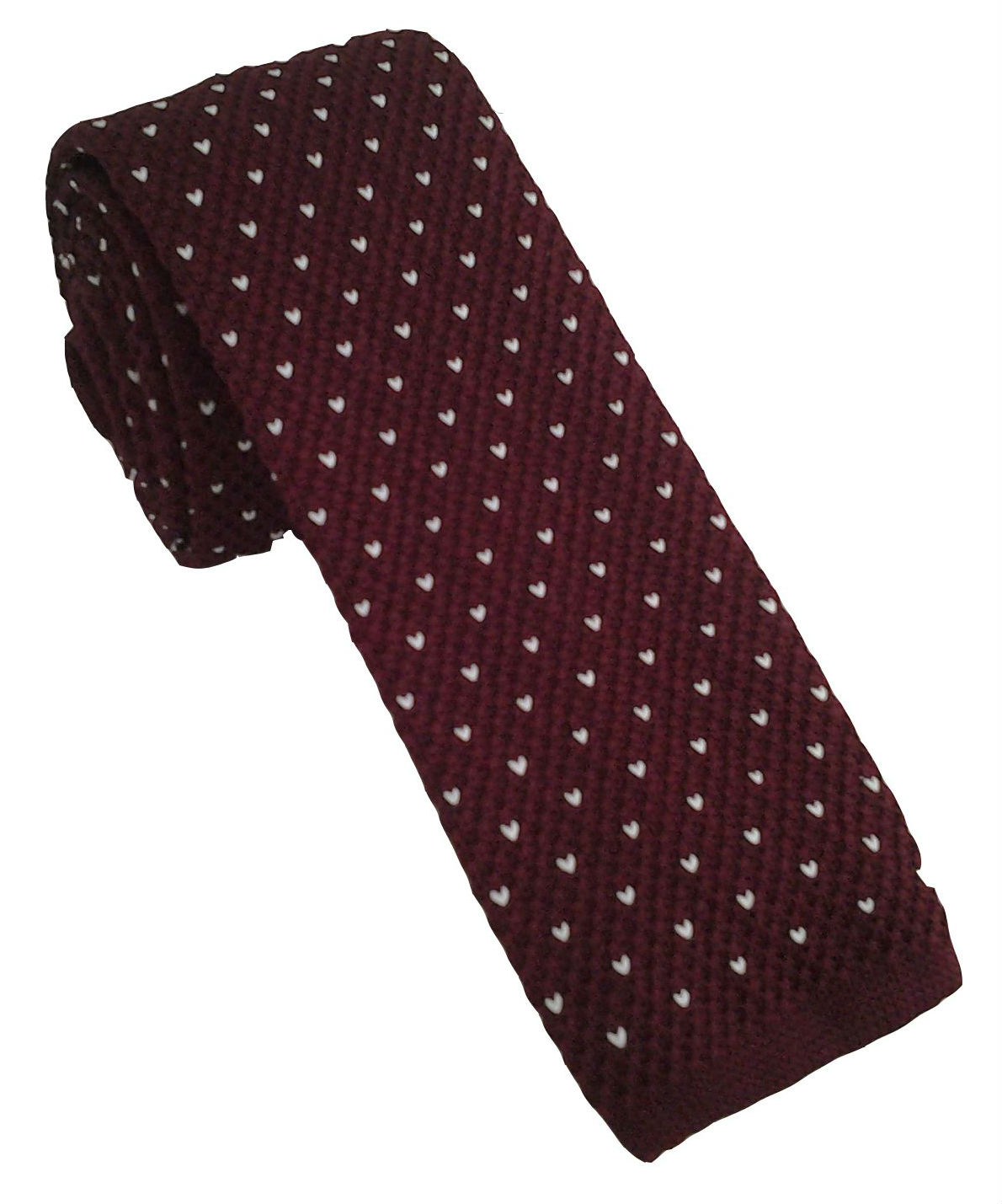 Burgundy Knitted Tie with White Polka Dot