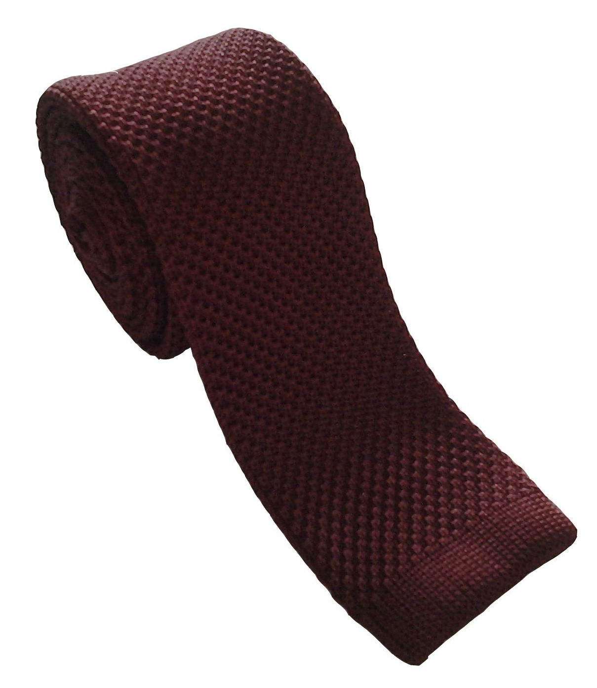 Burgundy Silk Knitted Skinny Tie