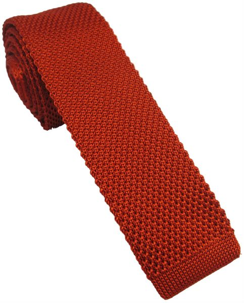 Burnt Orange Silk Knitted Skinny Tie