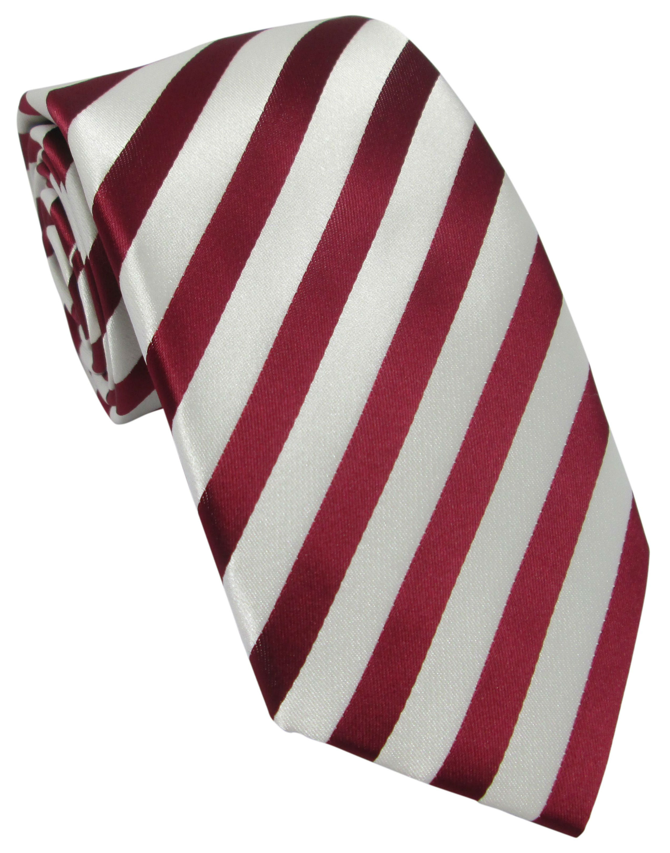 Burnt Red and White Striped Tie