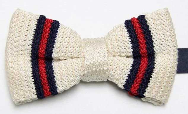 Cream Knitted Bow Tie with Navy and Red Thin Stripe