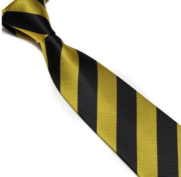 Gold and Black Striped Club Tie