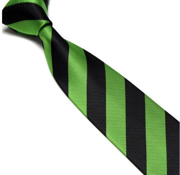 Green and Black Striped Club Tie
