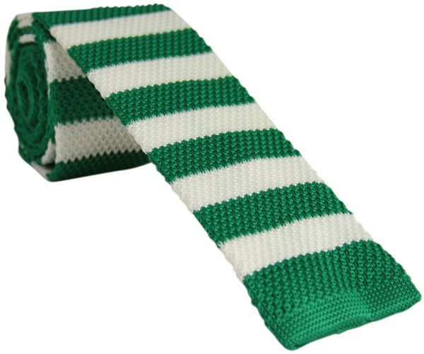 Green and White Striped Knitted Tie