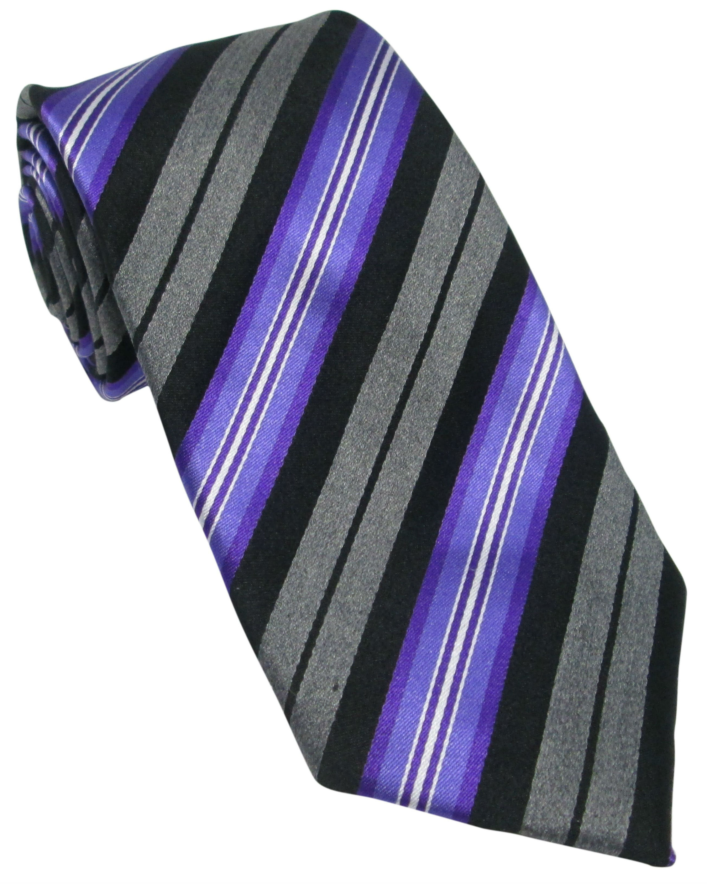 Grey, Black and Purple Striped Silk Tie