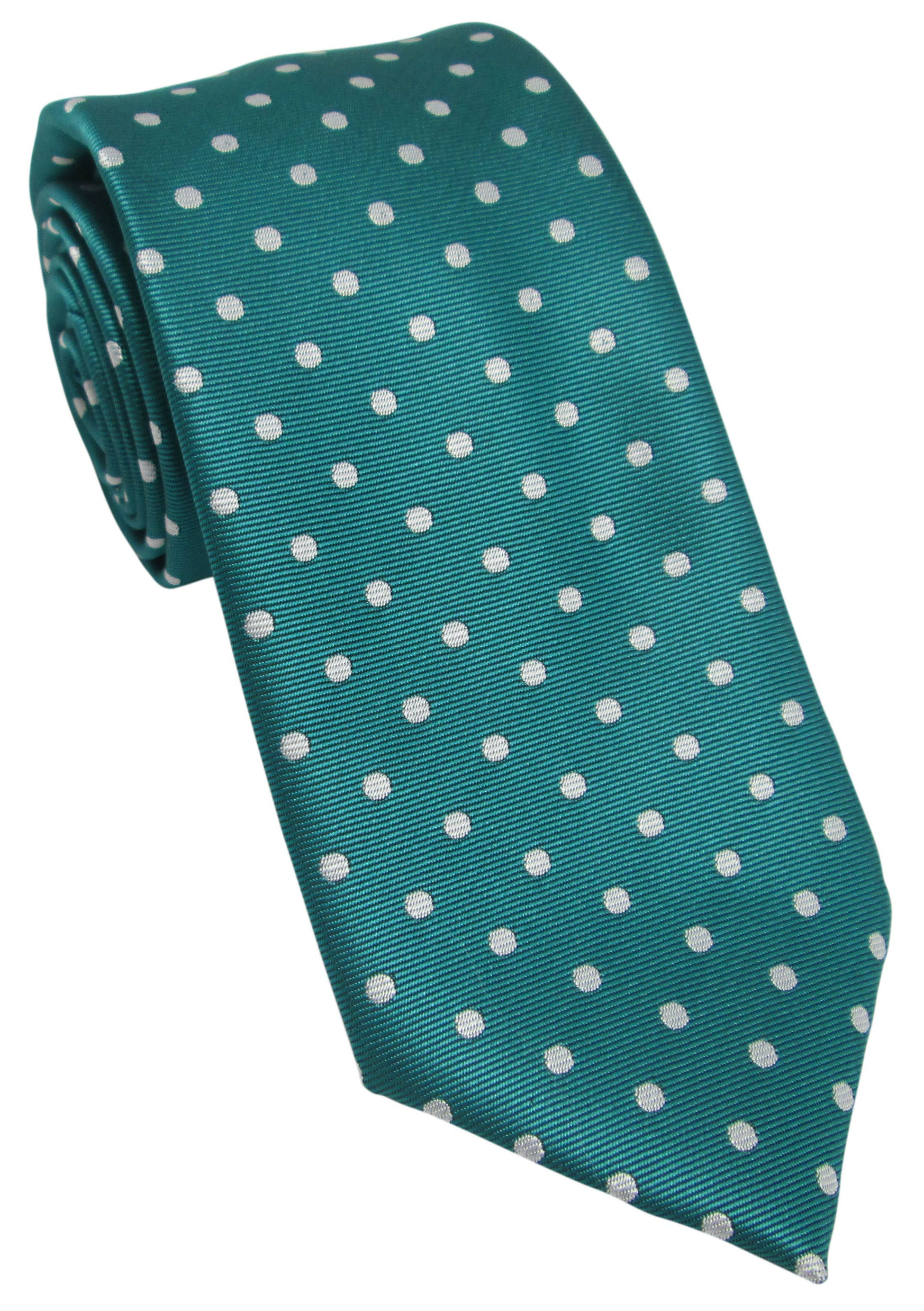 Jade Green with White Polka Dot Tie