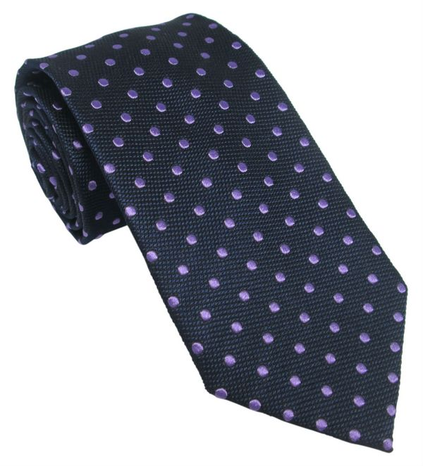 Navy Designer Silk Tie with Lilac Polka Dot