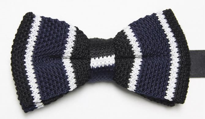 Navy Knitted Bow Tie with black and White Stripe
