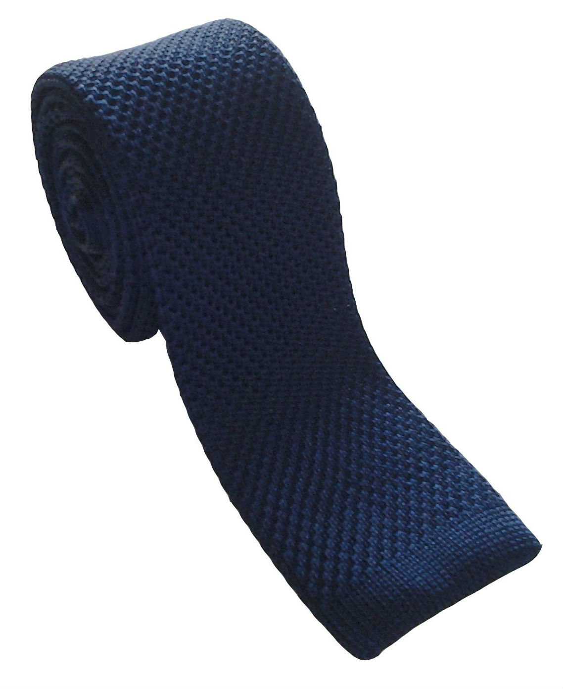 Navy Silk Knitted Skinny Tie
