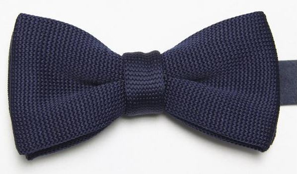 Navy Tight Knitted Bow Tie