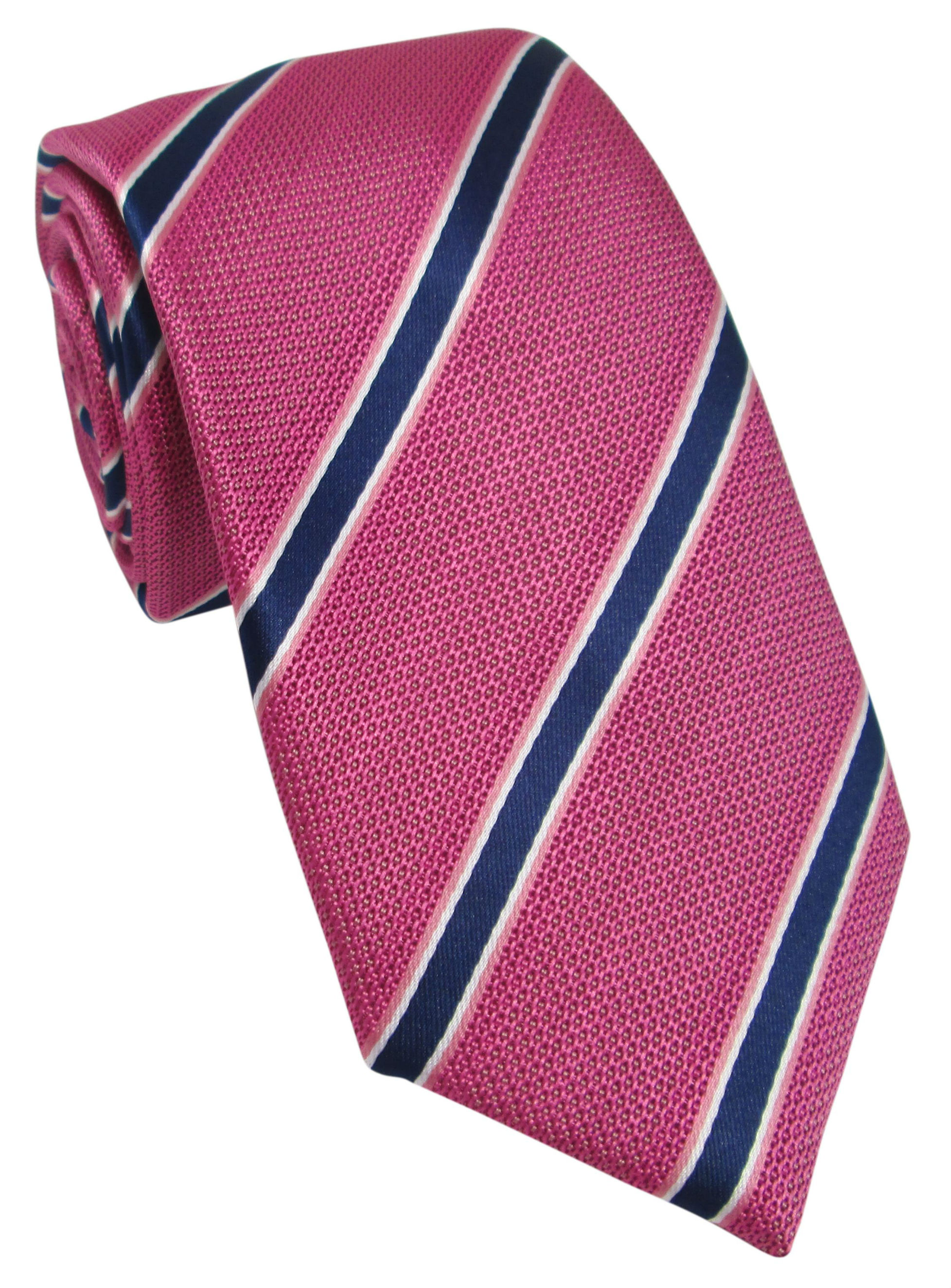 Pink and Navy Striped Tie