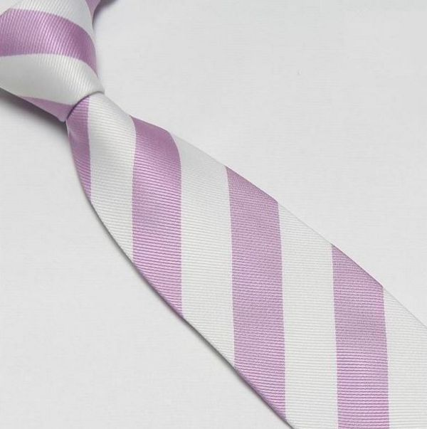 Pink and White Striped Club Tie