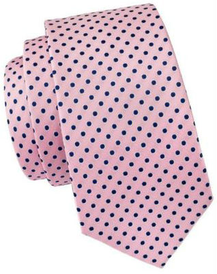 Pink Silk Tie with Navy Polka Dot