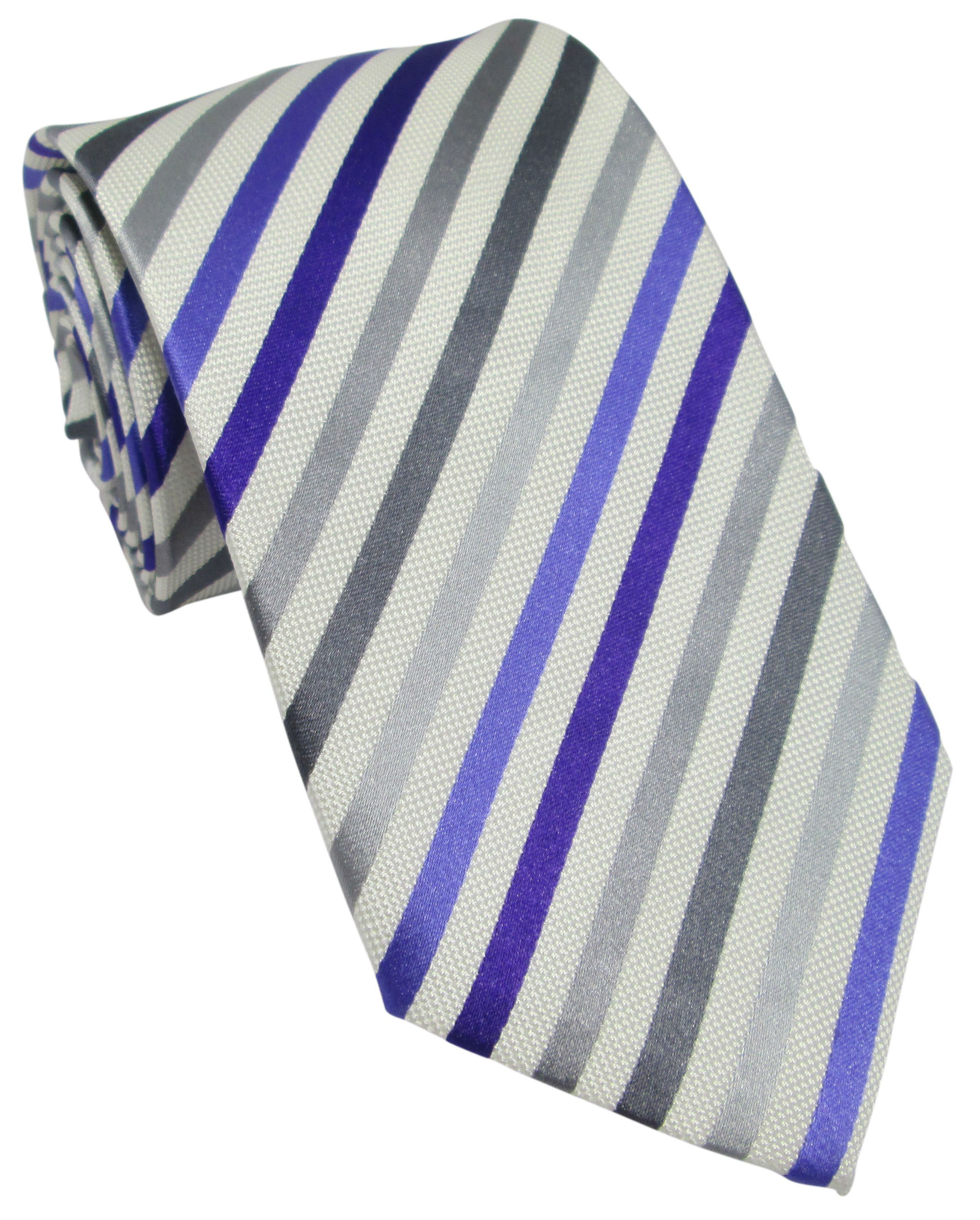Purple, Grey and White Striped Silk Tie