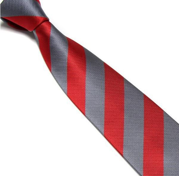 Red and Grey Striped Club Tie