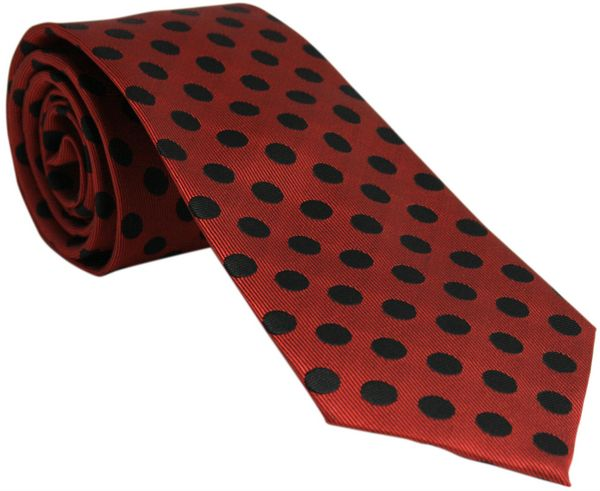 Red with Black Polka Dots Tie