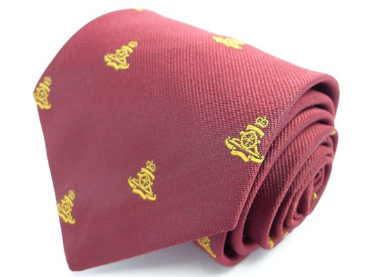 Royal Artillery Gold Gun On Maroon Regimental Tie