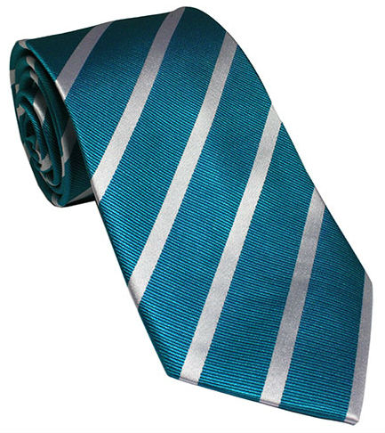 Teal with White Striped Silk Tie