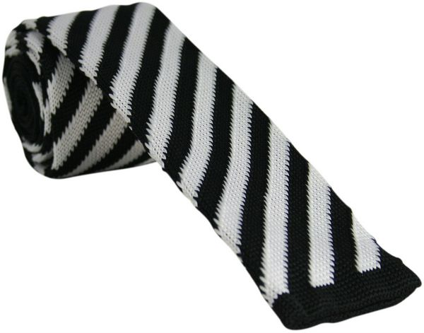 White and Black Striped Knitted Tie