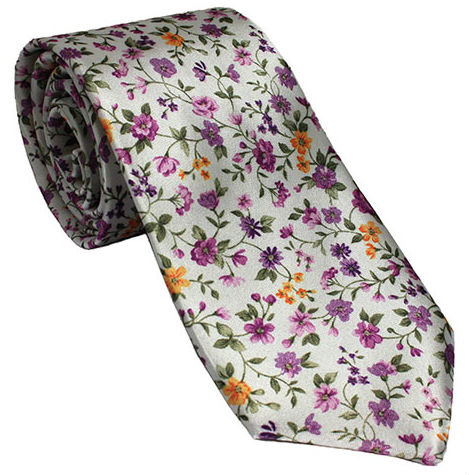 White Silk Tie with Purple and Yellow Floral Design