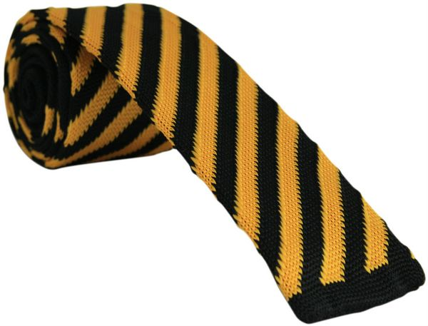 Yellow and Black Knitted Tie