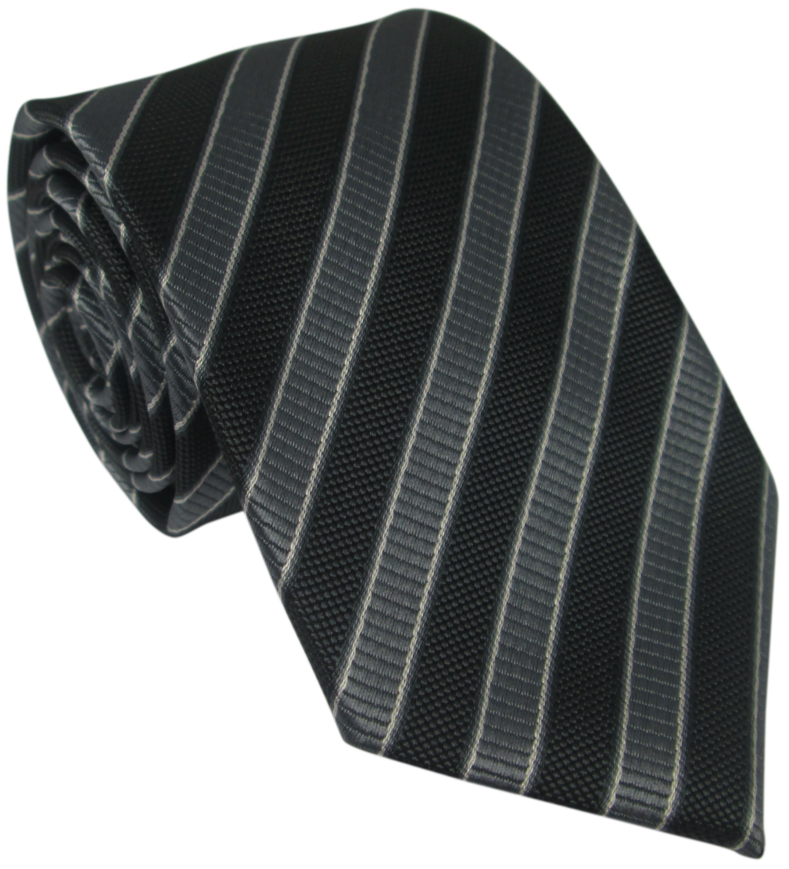 Black and Grey Striped Silk Tie