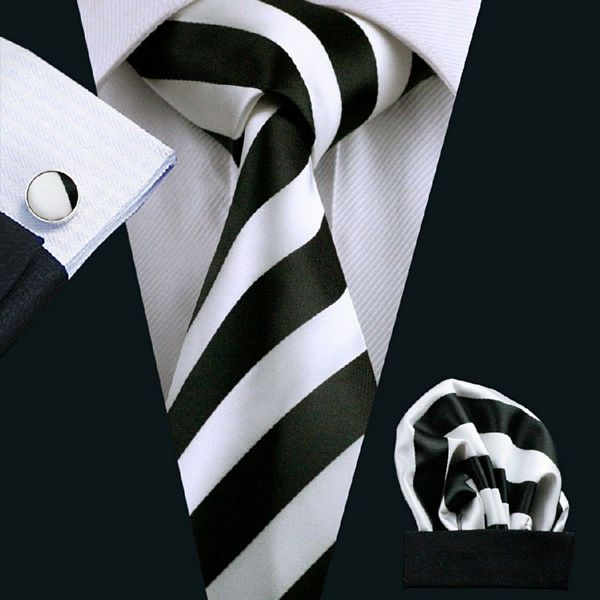 Black and White Striped Silk Tie with Matching Pocket Square