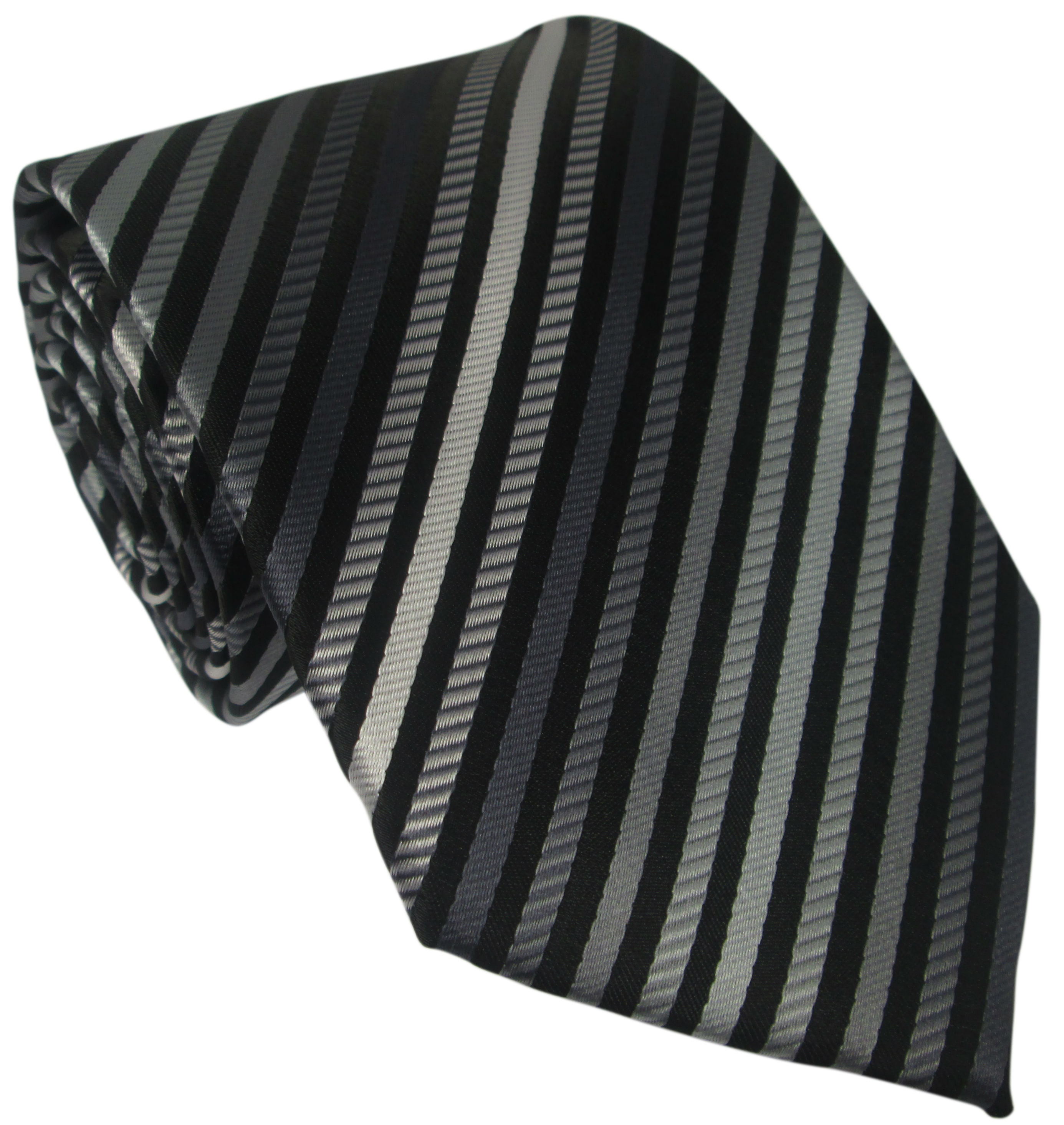 Black Grey and White Striped Silk Tie