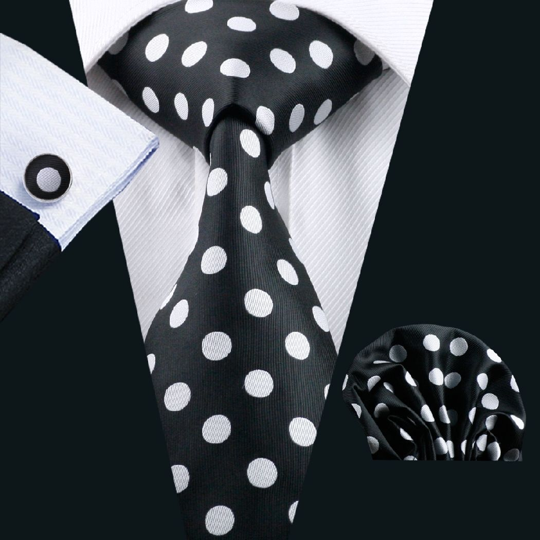 Black Silk Tie with Large White Polka Dot Matching Pocket Square and Cufflink Set