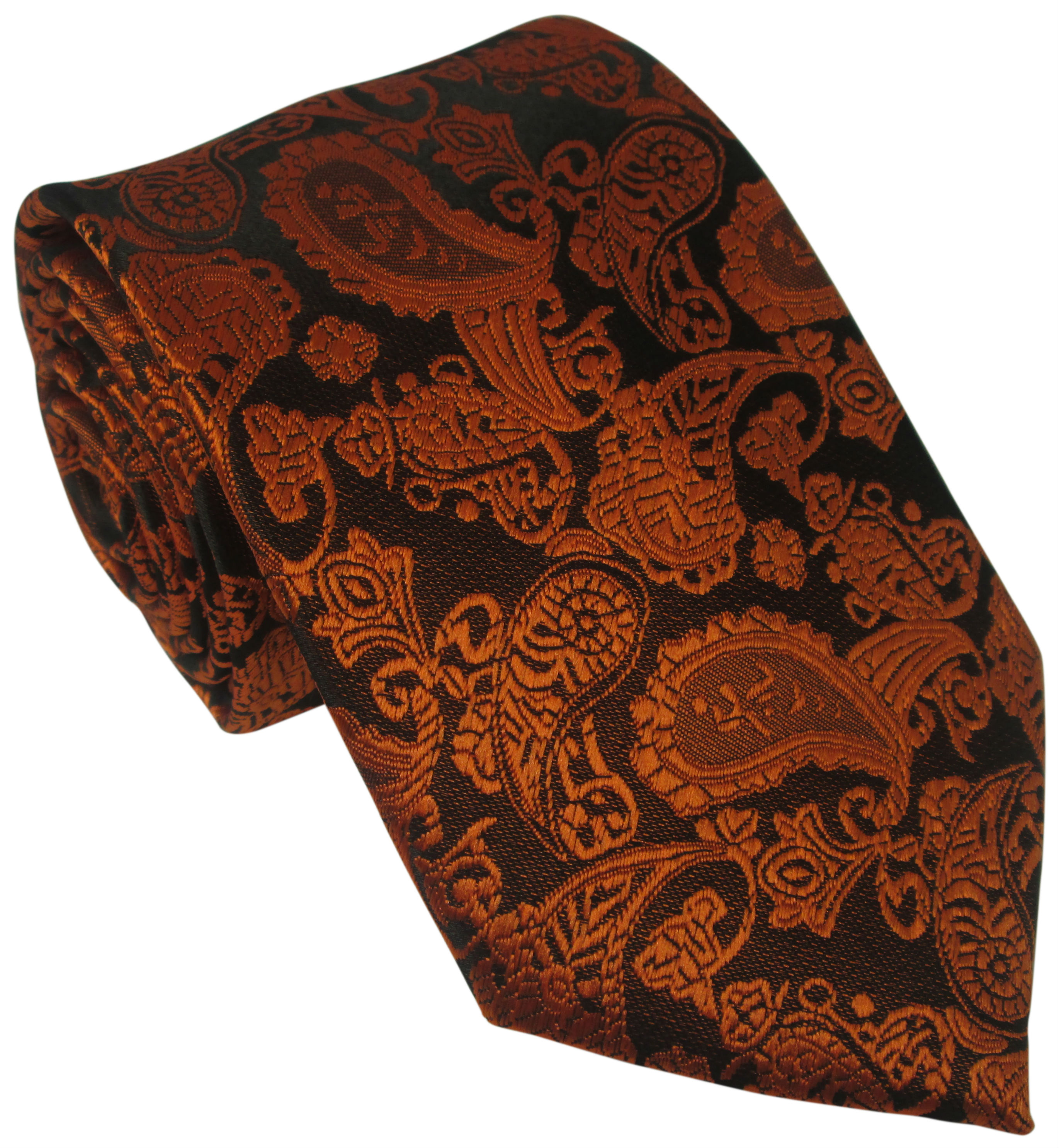 Black Silk Tie with Orange Paisley Design