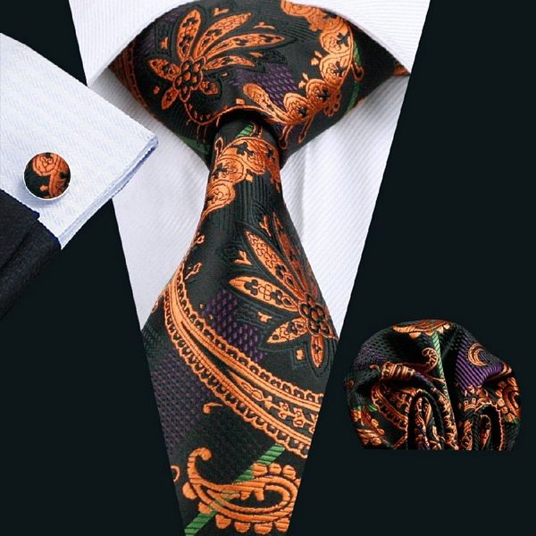 Black with Orange Paisley Silk Tie with Matching Pocket Square and Cufflink Set