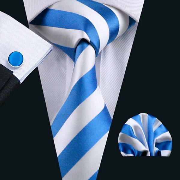 Blue and White Striped Silk Tie with Matching Pocket Square