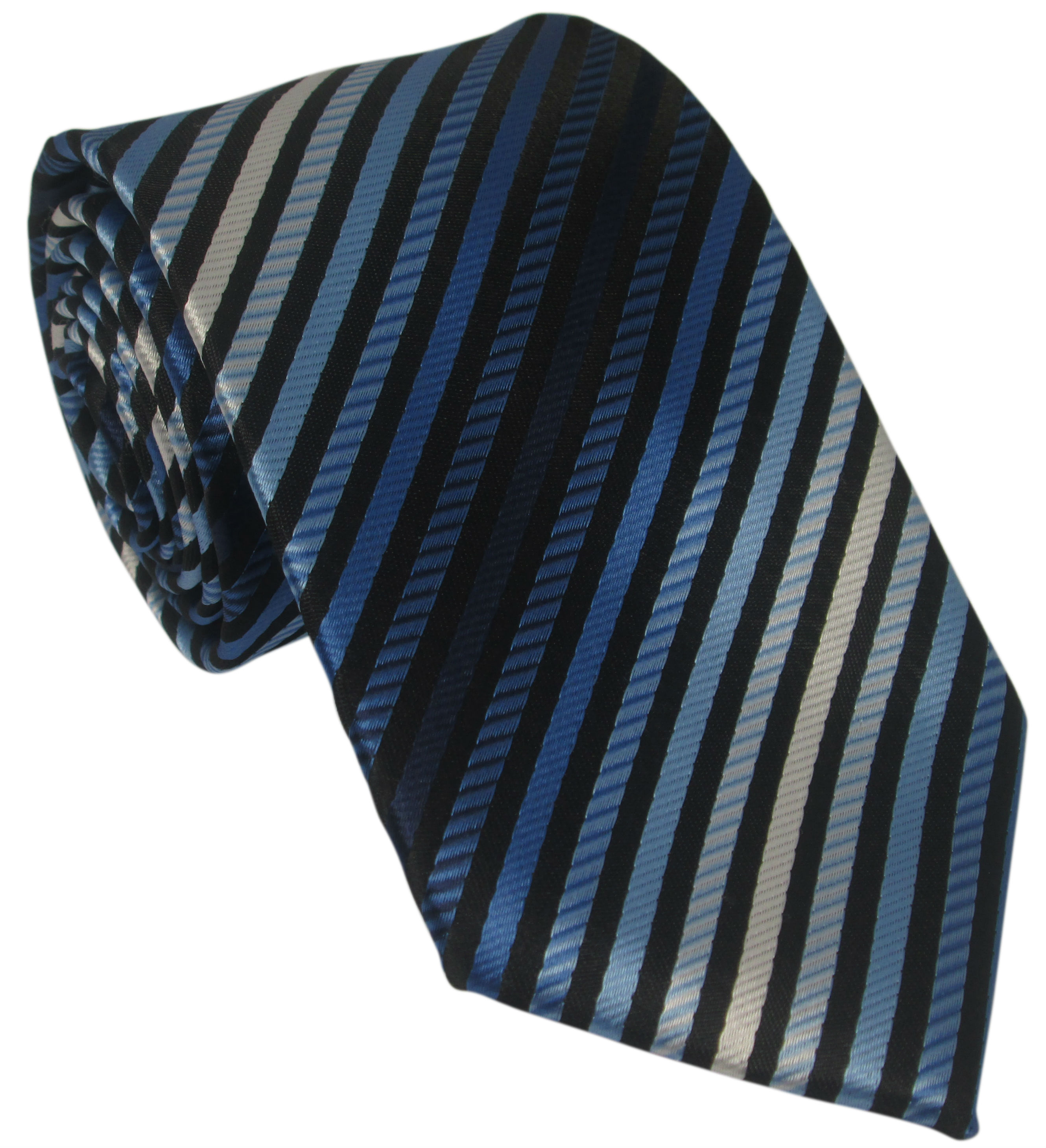 Blue Black and White Striped Silk Tie