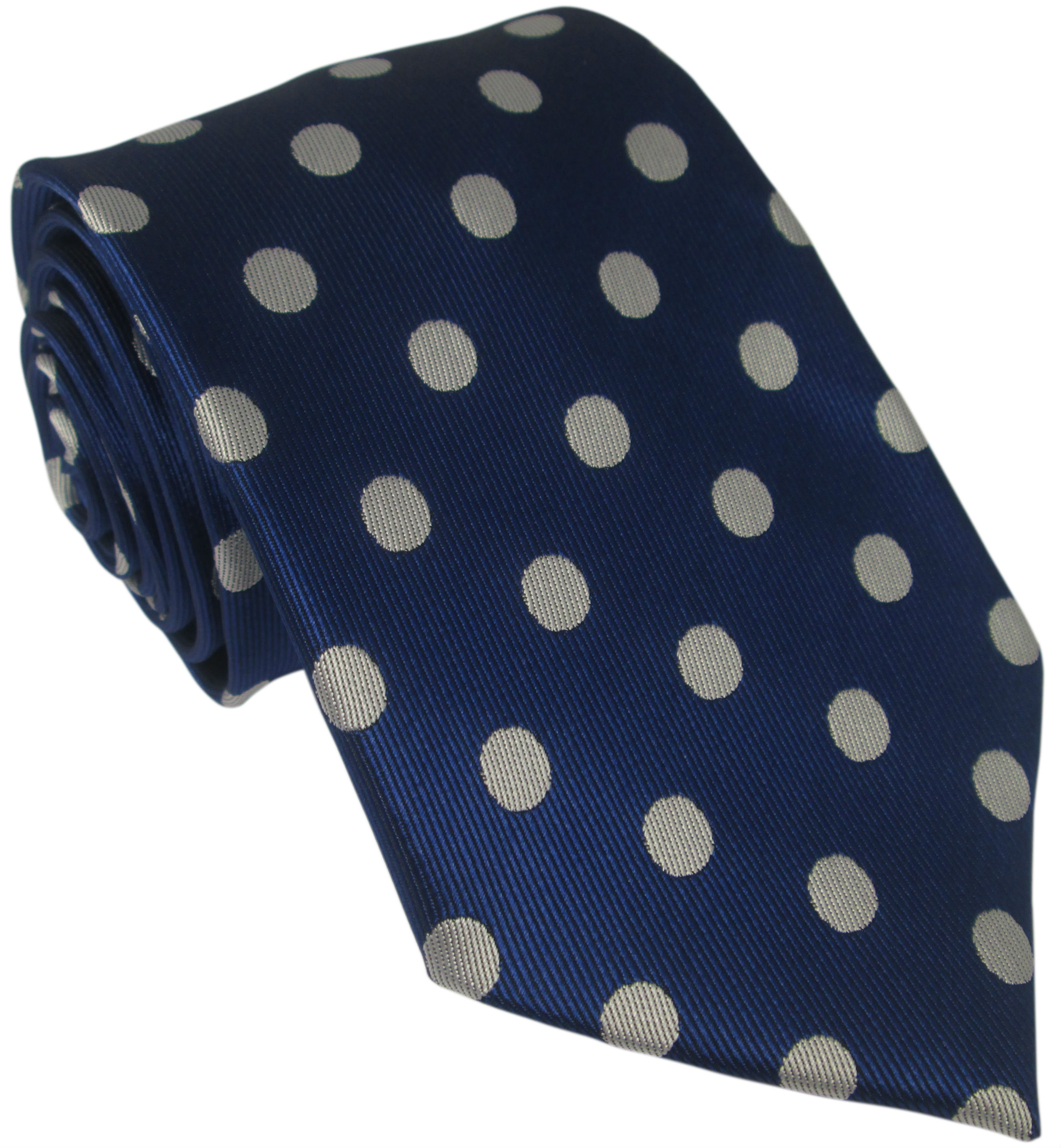 Blue Silk Tie with Large White Polka Dot