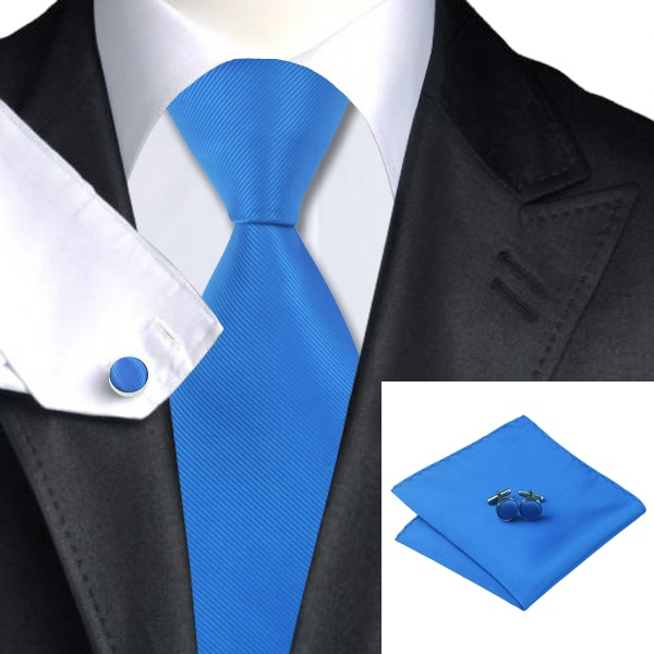 Blue Silk Tie with Matching Pocket Square and Cufflink Set