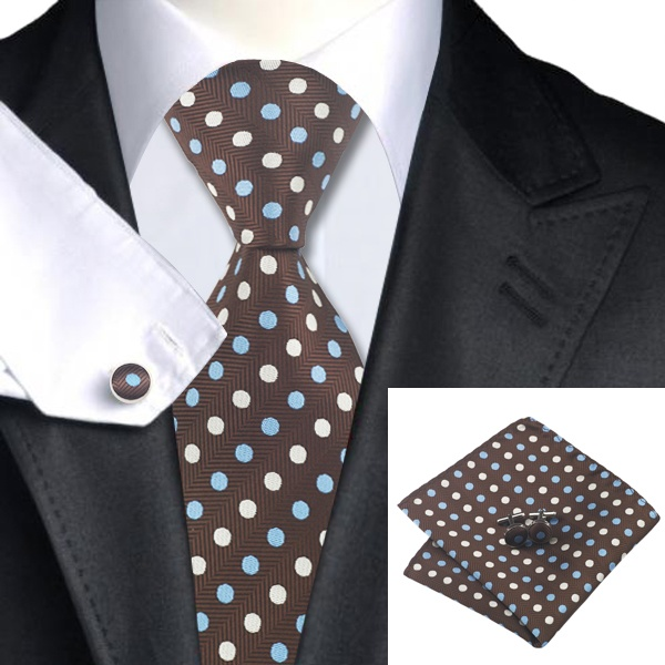 Brown Silk Tie with Cream and Blue Polka Dot Matching Pocket Square and Cufflink Set