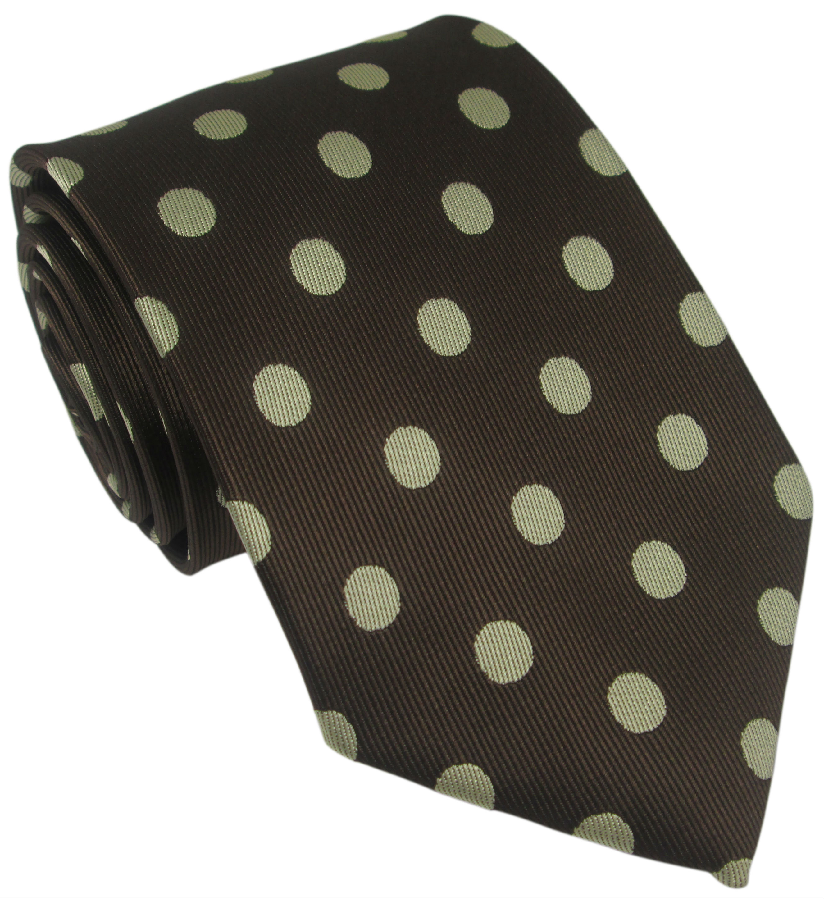 Brown Silk Tie with Large Cream Polka Dot
