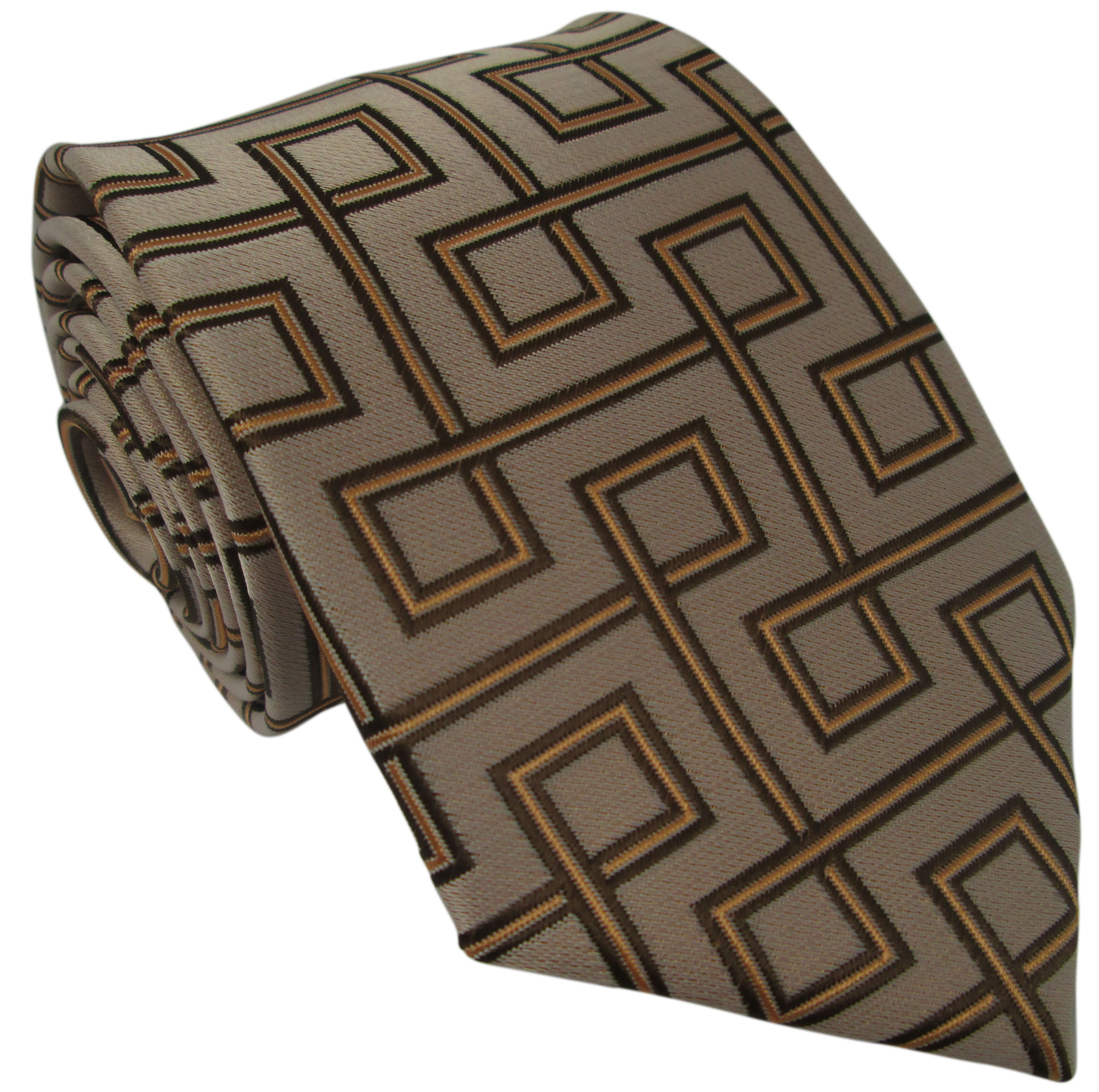 Brown Silk Tie with Retro Design