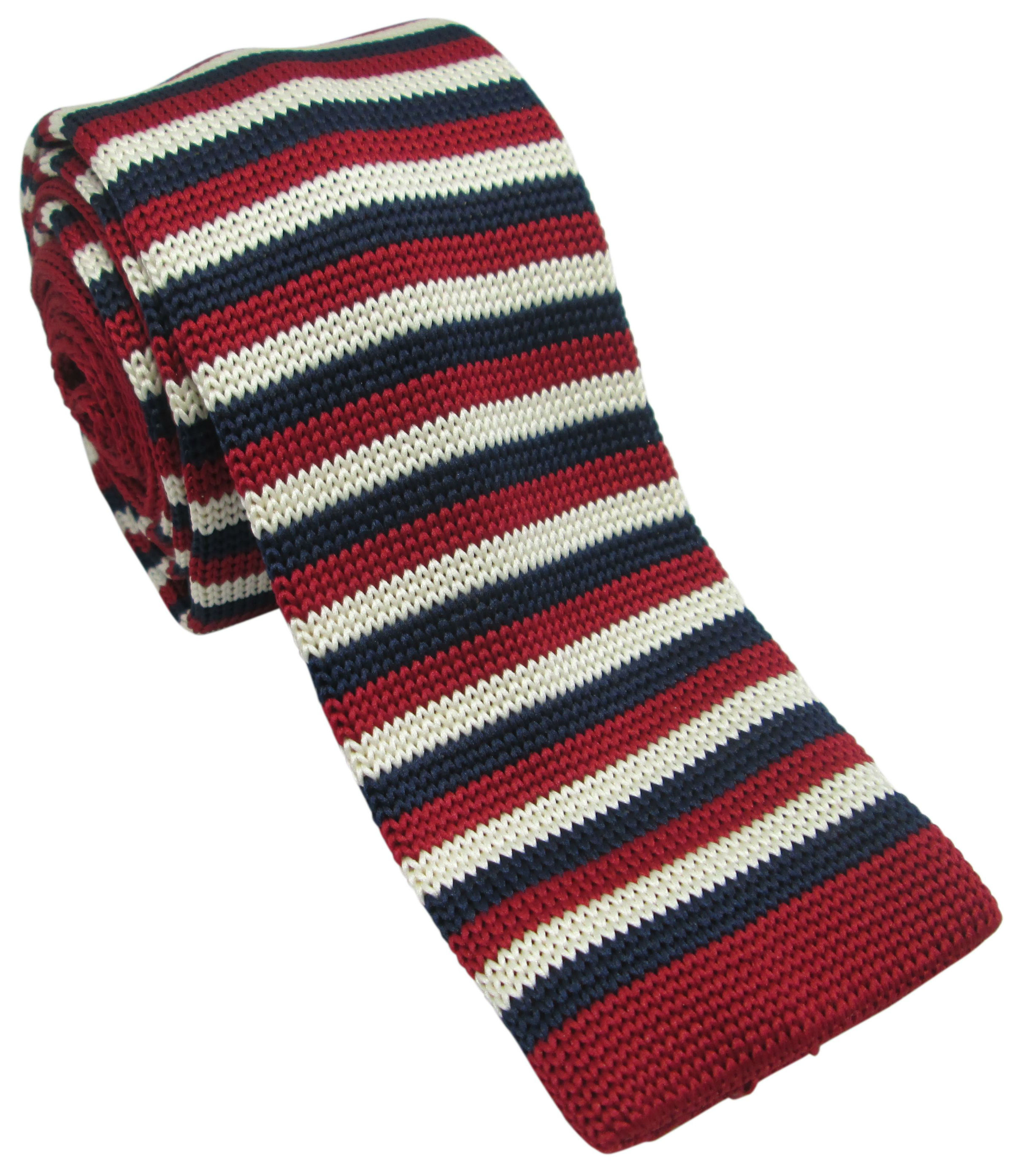 Burgundy, Cream and Navy Striped Knitted Tie