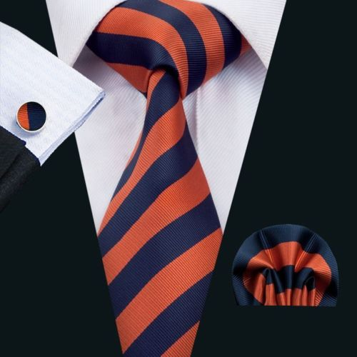 Burnt Orange and Navy Striped Silk Tie with Matching Pocket Square and Cufflink Set
