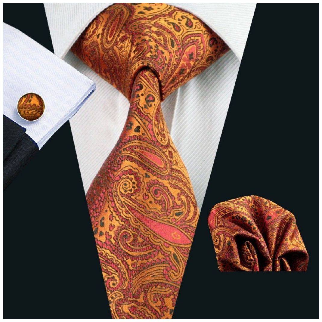 Burnt Orange Paisley Silk Tie with Matching Pocket Square and Cufflink Set