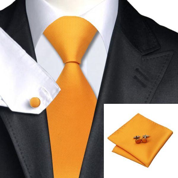 Burnt Yellow Silk Tie with Matching Pocket Square and Cufflink Set